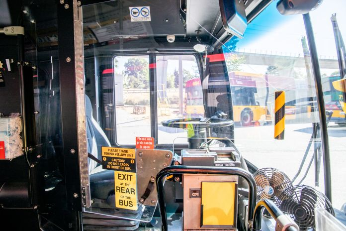 New partition on a Metro bus protecting bus operators. (King County)