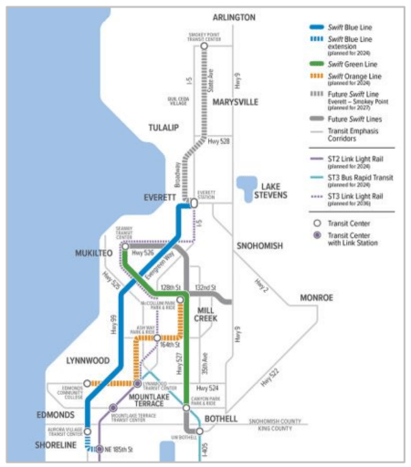 Community Transit's planned Swift network with connections to light rail and other bus rapid transit. The Blue Line runs from Shoreline to Everett along SR-99, Green runs from Bothell to Mulkiteo, and the Orange Line connects Edmonds Community College to McCollam Park and Ride via Montlake Terrace Station. (Community Transit)
