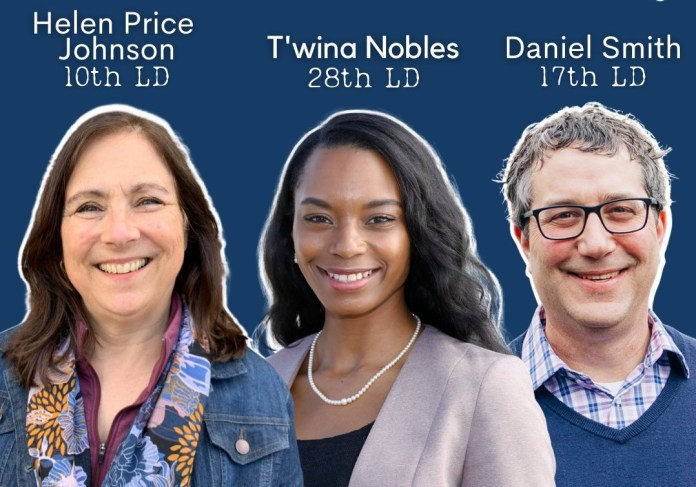 A graphic with headshots of Helen Price Johnson (10th LD), T'wina Nobles (28th LD) and Daniel Smith (17th LD).