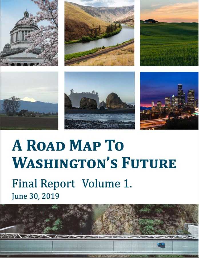 The first of four (4!) covers for volumes of the A Road Map To Washington's Future report. (Ruckelshaus Center)