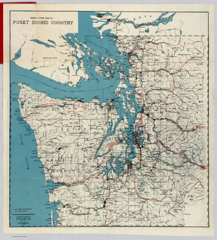 Historic map shows the Puget Sound Region with roads and urban development as of 1919. Seattle, Tacoma, and Bellingham jump out, but not much else.