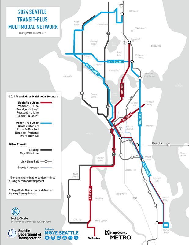 """The seven """"transit-plus"""" corridors had been originally all been envisioned as RapidRides."""