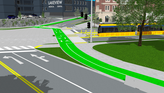 Streetcar at an intersection with a green bike lane.