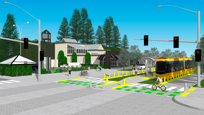 Streetcar station at the intersection of Princeton Avenue with Sand Point Way. Bike crossings along the corridor should be designed to facilitate safe crossings for cyclists over the rails at every intersection..