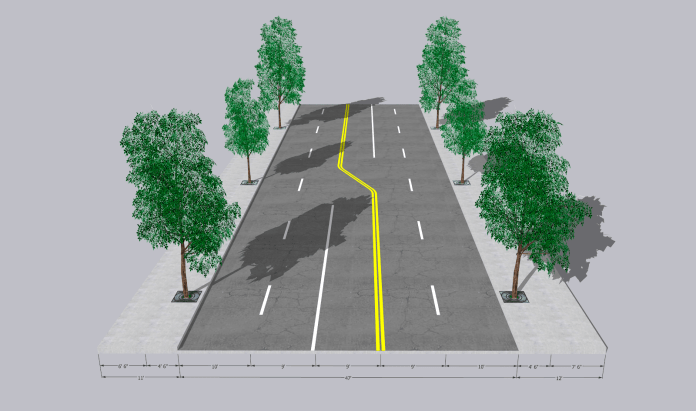 Rendering shows two travel lanes in each direction and a center turn lane.