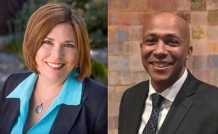 headshots of Jennifer Robertson and James Bible in business atire