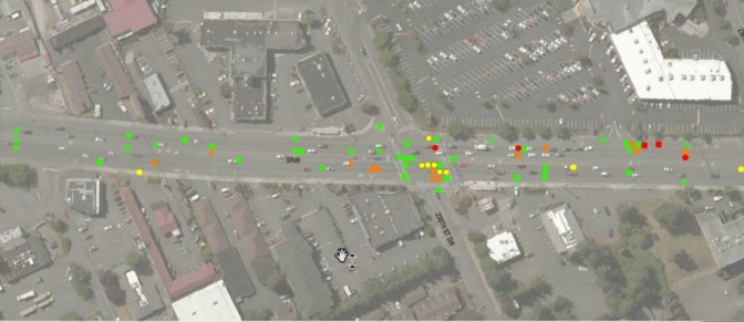 Example crash diagram of 240th St SW to 236th St SW between 2017 and 2019. Yellow dots represent pedestrian hits. Red spots indicate injury. (Credit: City of Edmonds)
