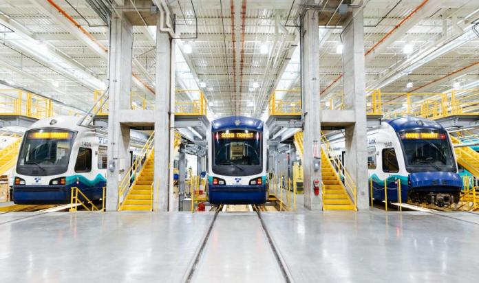 An inside view of the Seattle operations and maintenance facility. (Sound Transit)