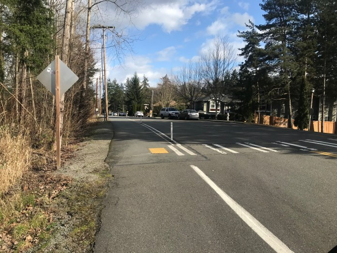 Looking east on the Sammamish Trail where it crosses Woodinville Drive.