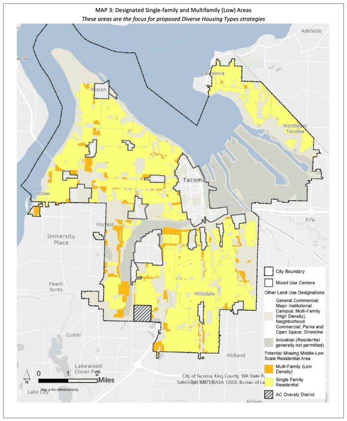 The areas highlighted in yellow and orange are slated for changes under the Home In Tacoma project. (City of Tacoma)