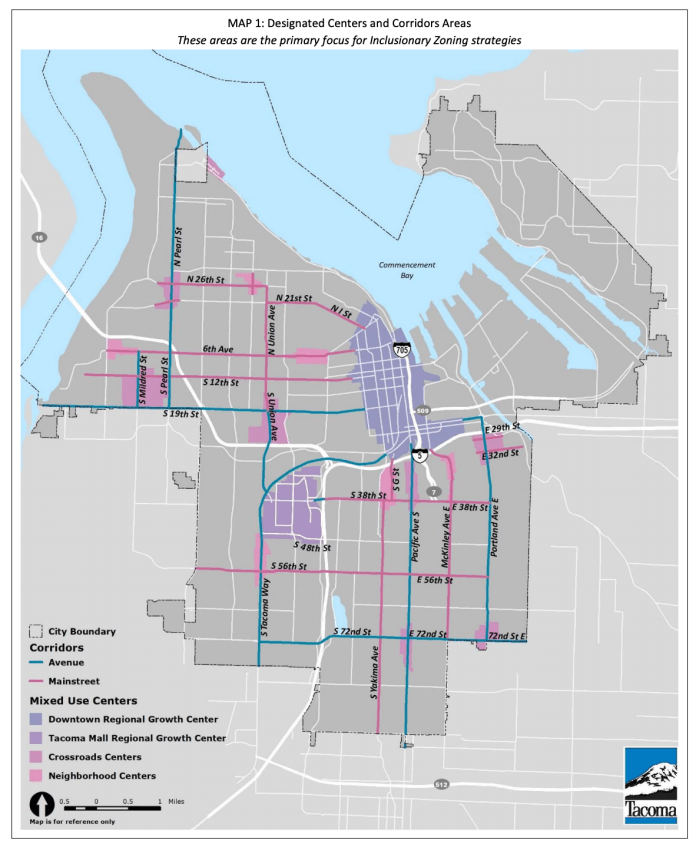 The highlighted streets and areas are where inclusionary zoning is targeted. (City of Tacoma)
