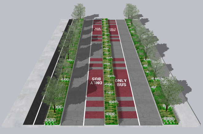 My proposed street section for much of Sand Point Way. (Rendering by Joe Mangan/SketchUp Software).