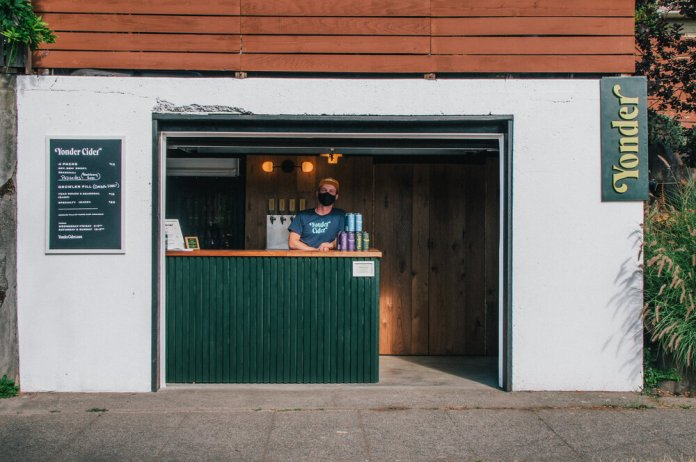 Yonder Cider's street-side garage bar in Greenwood. (Yonder Cider)