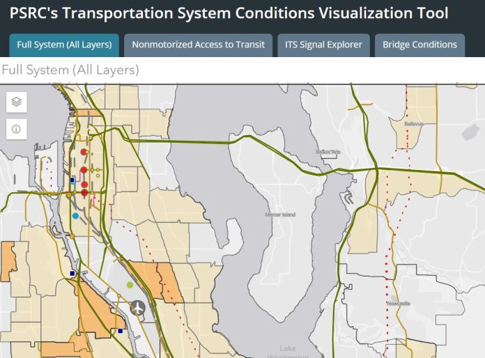 The Visualization Tool with freight assets and demographics layers enabled. (Credit: Puget Sound Regional Council)