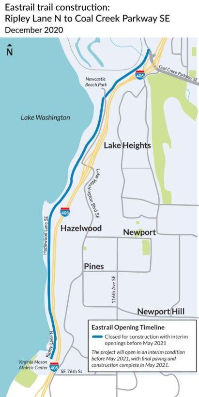 The 2.5-mile improvement to interim Eastrail Trail. (Courtesy of WSDOT)