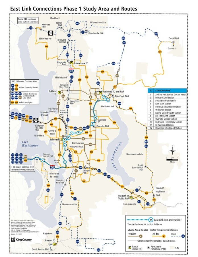 Routes on the Eastside that part of the bus restructure study area. (King County)