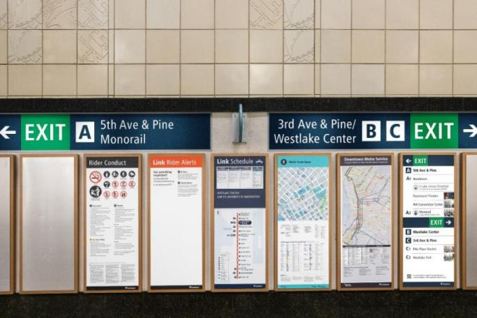Wall signs that Sound Transit plans to use at stations. Note the change to letters for exits. (Sound Transit)