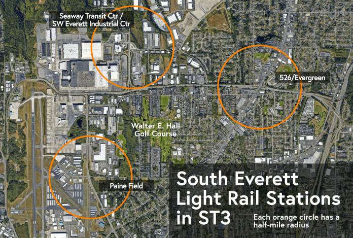 Context and possible station locations that would dot the Southwest Everett Industrial Center detour.