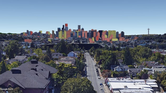 Seattle skyline with proposed buildings overlaid. (Courtesy of David Boynton)