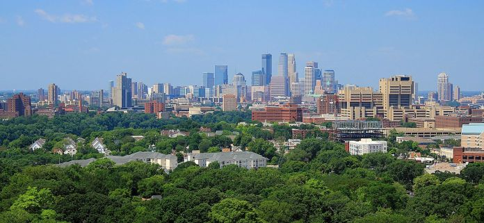Minneapolis skyline seen form Prospect Park Water Tower. (Courtesy of Michael Hicks)
