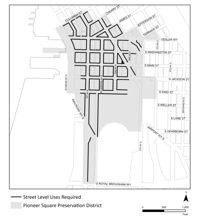Most of Pioneer Square (south of Columbia St and west of 4th Avenue) requires street-level uses.