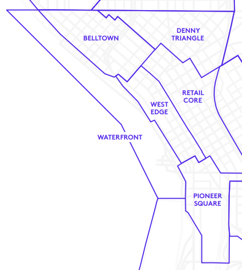 Map shows Belltown, Denny Triangle, Retail Core, Pioneer Square, West Edge, and the Waterfront.