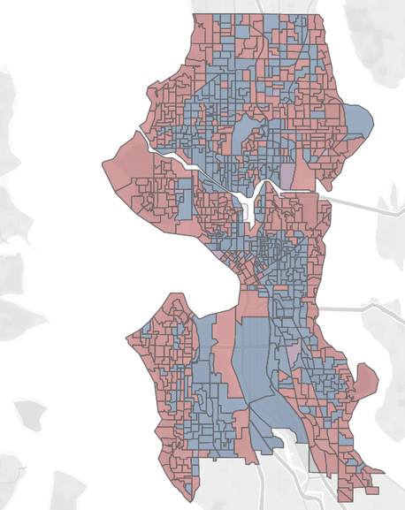 Harrell dominated along the cost and in much of West Seattle and Northeast Seattle. González did well in denser areas.