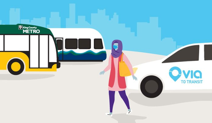 A cartoon-style graphic shows a woman in a headscarf next to a Via van with a Metro bus and Link train in the background.