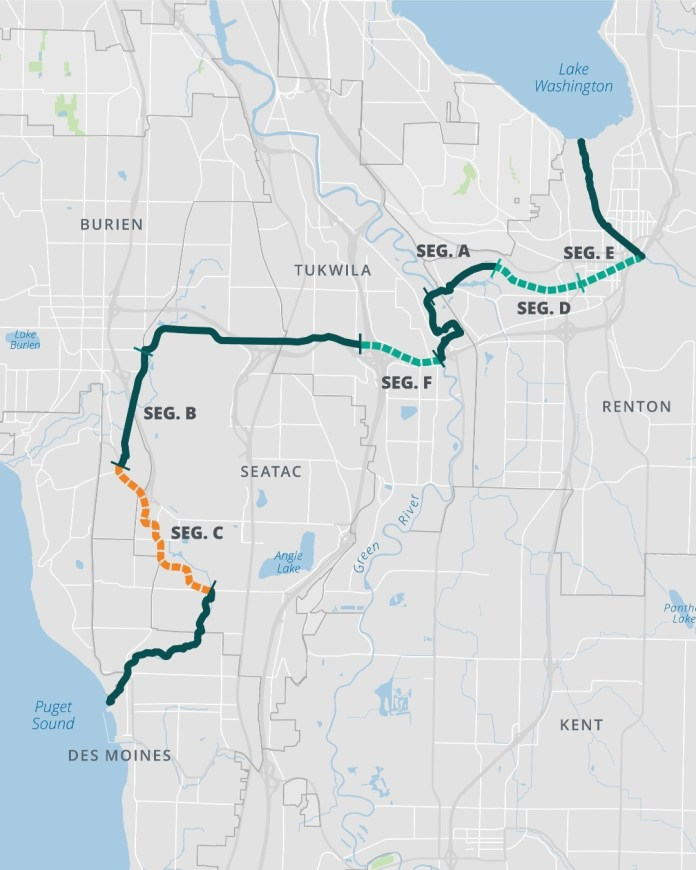 A map of the multi-use trail connecting Lake Washington to Puget Sound. The trail is divided into segments A to E.