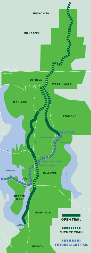 Eastrail map showing open and future trail segments. (Credit: King County)
