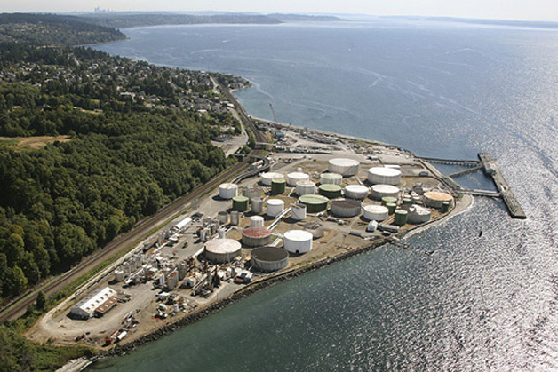 A an aerial photo of the Point Wells site shows petroleum storage and distribution facilities along the port.