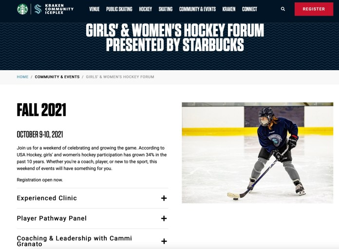 A screenshot of a girls and women's hockey forum to be held in fall 2021 and sponsored by Starbucks.