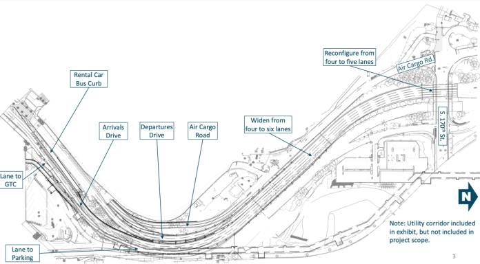 Black and white drawing of a roadway expansion with segments labelled