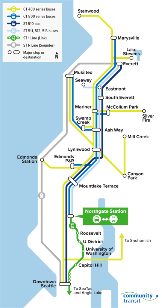 Schematic of how Snohomish County-oriented Community Transit and Sound Transit routes will be adjusted, if at all. (Community Transit)