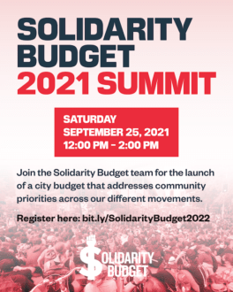 A flyer advertising the 2021 Solidarity Budget Summit on September 25th from 12-2pm.