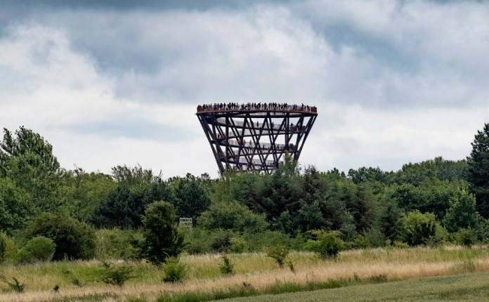 Photo of a wooden tower in a forest.