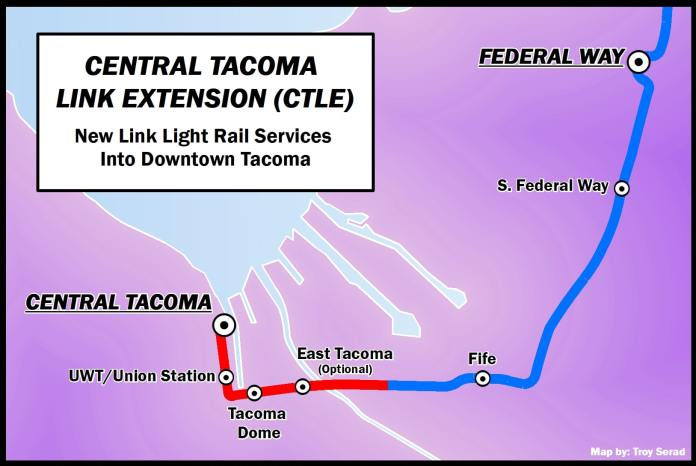 A map showing a light rail alignment running from Federal Way through Fife, East Tacoma, and the Tacoma Dome. The line terminates in central Tacoma after Union Station.