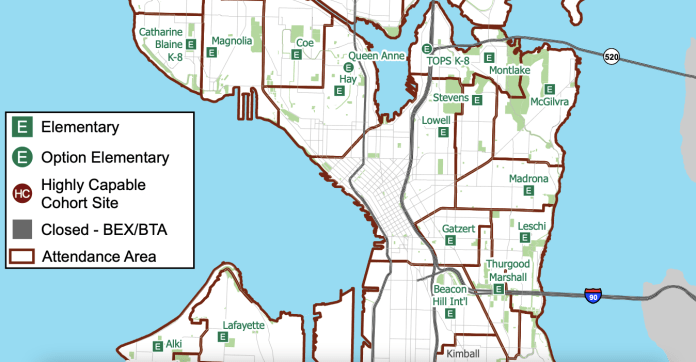 A map of central Seattle outlines the  boundaries for elementary schools, with no elementary schools close to Downtown.