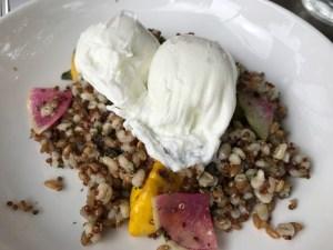 Five Leaves Heritage Grain Bowl with Farro, Barley, Quinoa, Watermelon Radish, Baby Squash, Kale, Salsa Verde and Poached Egg