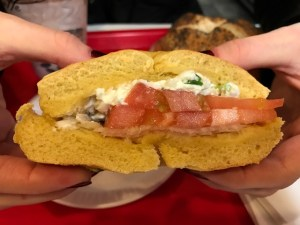 David's Bagels Egg Bagel with Garlic & Chive Cream Cheese, Tomato & Onion
