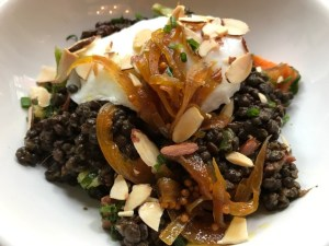 Warrior One - Poached Egg, Masala-Spiced Lentils, Shaved Broccoli, Roasted Sweet Potato, Toasted Almond, Scallions & Onion Chutney - Egg Shop