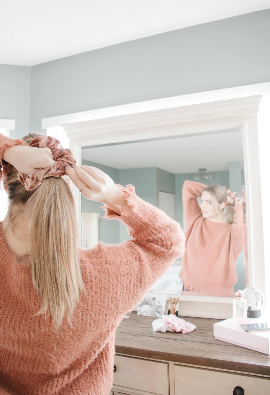 Cute Rose Gold Velvet Hair Scrunchies