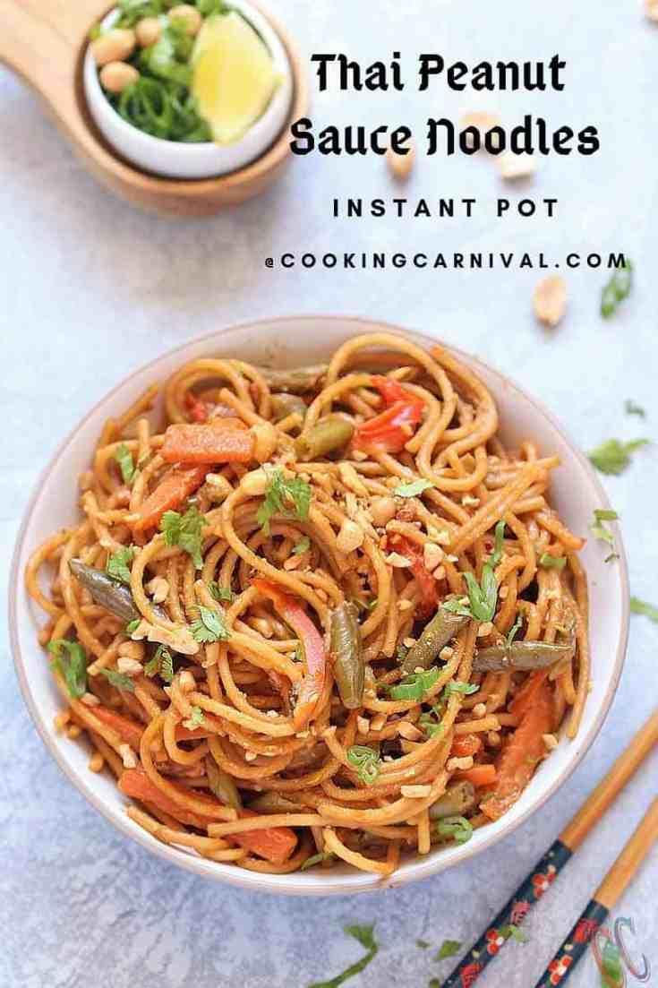 Thai Peanut Sauce Noodles (Instant Pot) | Vegan Peanut Butter Noodles -