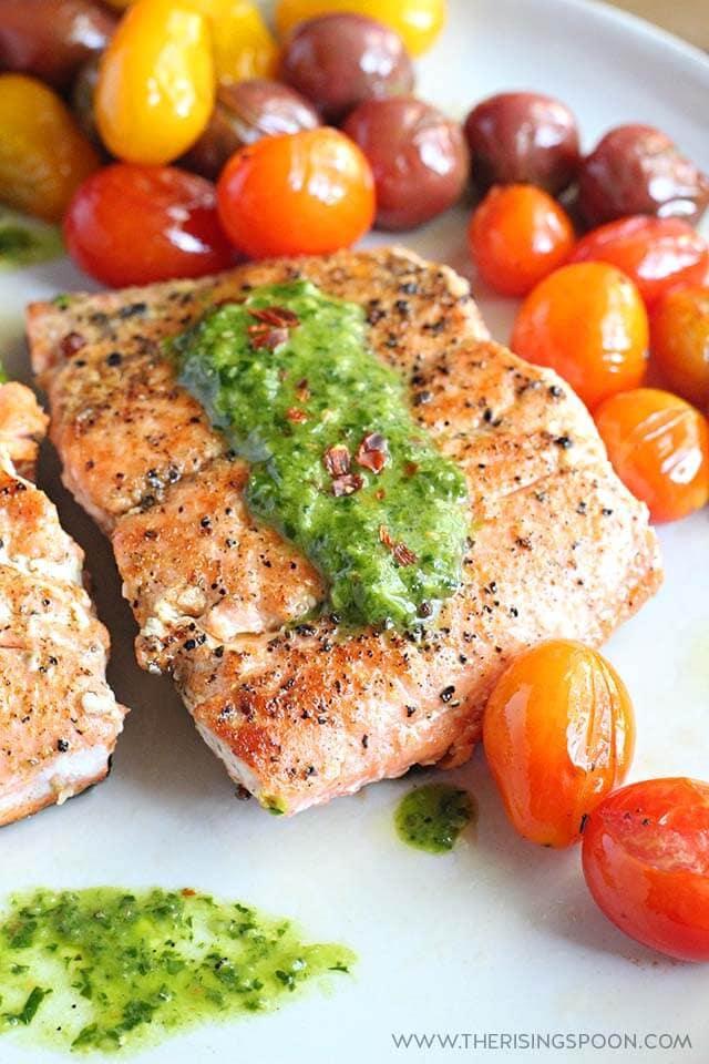 Pan-Seared Salmon with Chimichurri Sauce