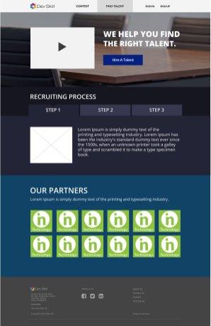 Design of Dev Skill employers' landing page