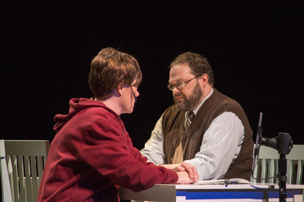 Jeanette Puhich and Dave Hanson, Kingdom of Heaven, Book, lyrics and music by Jenifer Nii and Dave Evanoff, respectively, Plan-B Theatre, directed by Jerry Rapier. Photo: Rick Pollock.