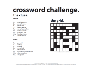 Crossword Challenge from The Vacation Entertainer - 14 Feb 2016