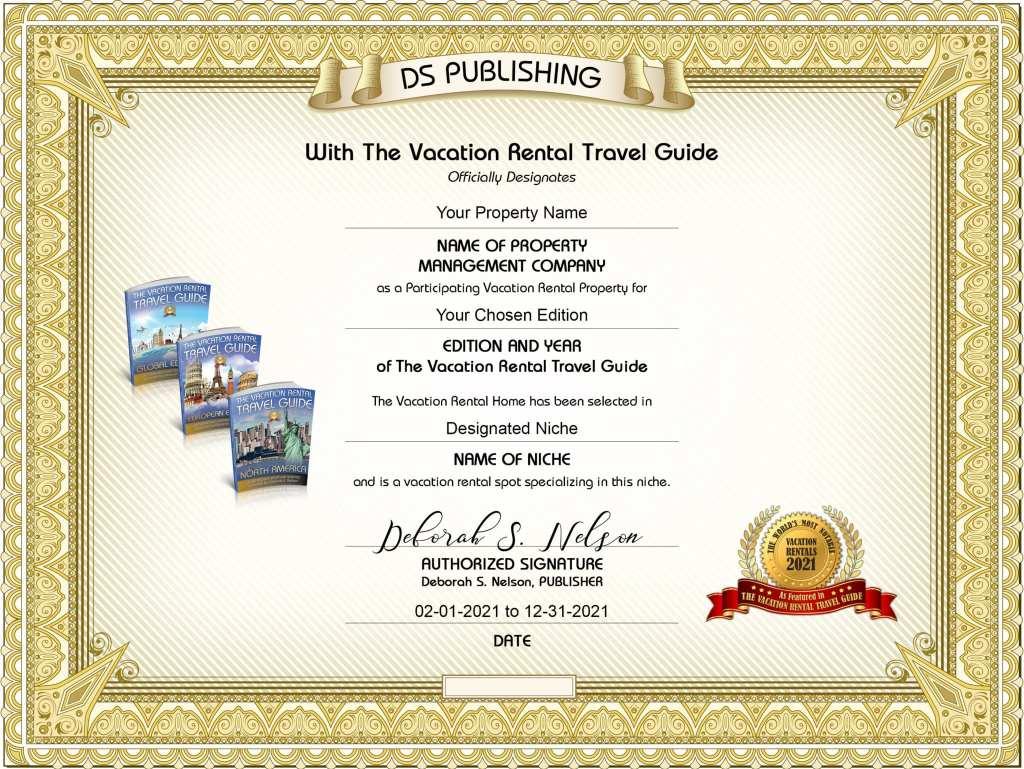 The Vacation Rental Travel Guide Gold Seal Sample Certificate