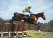 Pet portrait in Oils of Race Horse Vodka Infrerno and Jockey by Annabelle Valentine