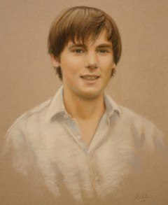 Portrait in pastels on tinted paper by Annabelle Valentine
